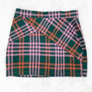 Free People Tulip Faux Wrap Plaid Mini Skirt